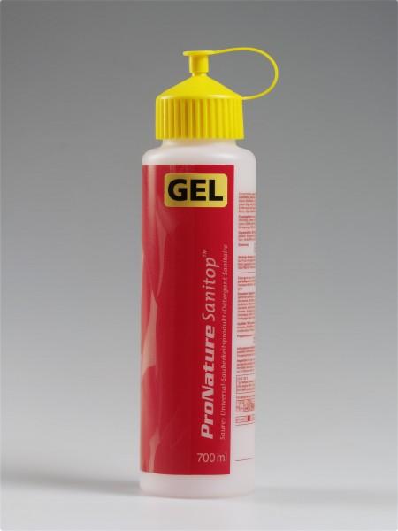 """Dosierflasche """"Sanitop GEL"""", Rot/Gelb"""